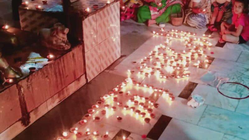 श्री राम मंदिर शिलान्यास शुभ अवसर पर श्री कमलेश्वर महादेव मंदिर में 551 दिए जलाए