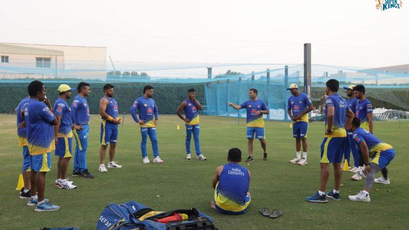 एमएस धोनी की कप्तानी में दुबई में चेन्नई सुपर किंग्स ने शुरू किया अभ्यास